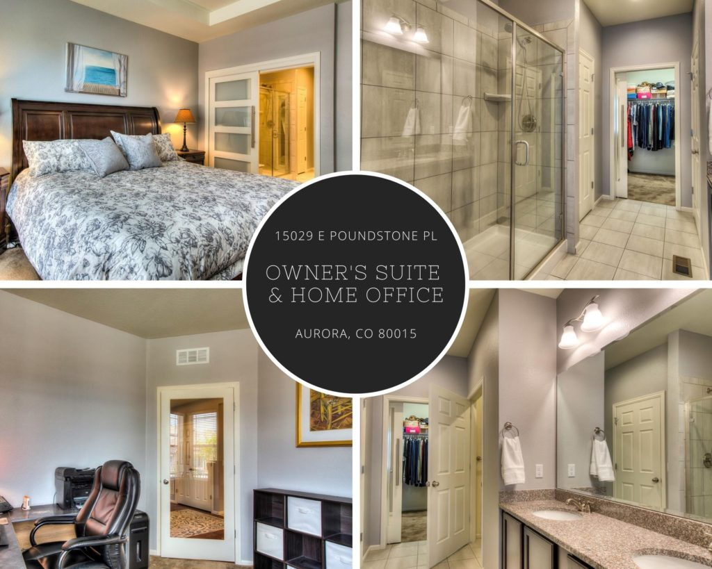 collage of owners suite, ensuite bathroom, and home office of 15029 E Poundstone Place in Aurora