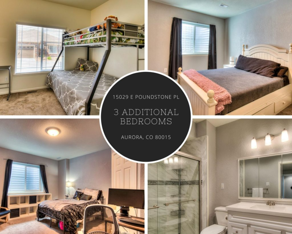 collage of secondary bedrooms and bath of 15029 E Poundstone Place in Aurora