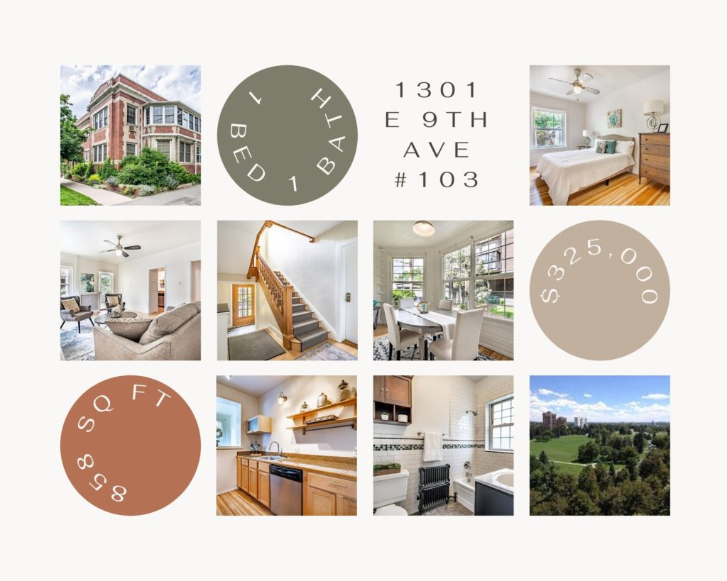 collage of photos of exterior and interior of 1301 east 9th avenue unit 103
