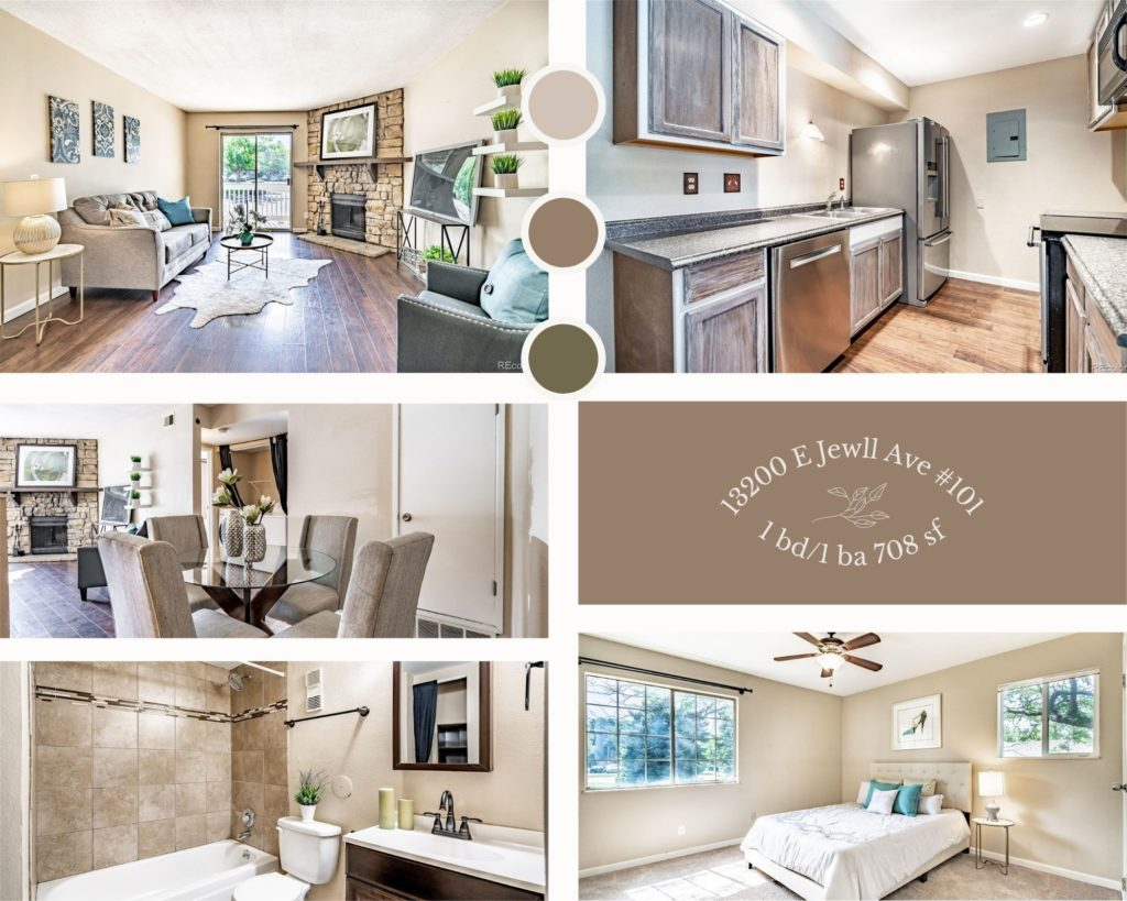 collage of photos of interior of 13200 east jewell avenue unit 101